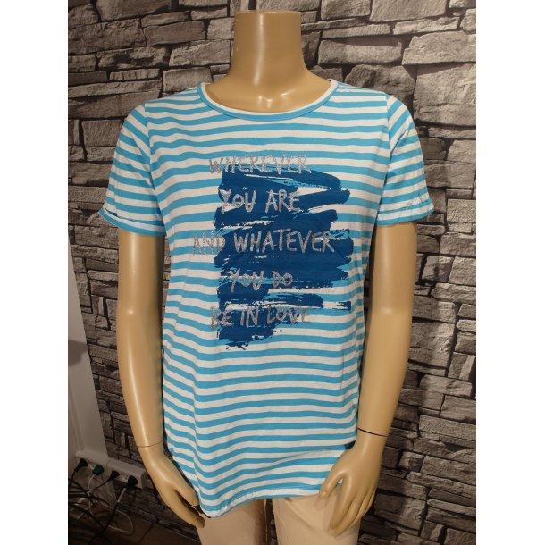 Stribet T-Shirt Turkis